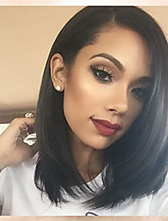 cheap -Human Hair Lace Front Wig Bob Kardashian style Brazilian Hair Burmese Hair Straight Natural Wig 130% Density with Baby Hair Women Easy dressing Best Quality Hot Sale Women's Short Human Hair Lace Wig