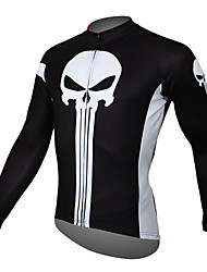 cheap -ILPALADINO Men's Long Sleeve Cycling Jersey Winter Black Yellow Red Skull Bike Jersey Top Mountain Bike MTB Road Bike Cycling Breathable Quick Dry Ultraviolet Resistant Sports Clothing Apparel