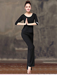 cheap -Women's Scoop Neck High Rise Harem Wide Leg Yoga Suit Solid Color Modal Elastane Zumba Yoga Dance Pants / Trousers Top Clothing Suit Plus Size Half Sleeve Activewear Lightweight Breathable / Stretchy