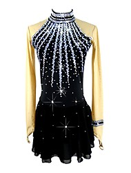 cheap -Figure Skating Dress Women's Girls' Ice Skating Dress Black Spandex Micro-elastic Professional Competition Skating Wear Handmade Sequin Long Sleeve Figure Skating