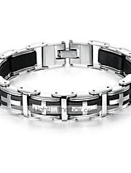 cheap -Men's Hologram Bracelet Bracelet Link / Chain Sideways Cross Cross Stylish Unique Design Trendy Initial Titanium Steel Bracelet Jewelry Black For Daily Street