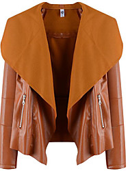 cheap -Women's Going out Street chic Short Leather Jacket, Solid Colored Fold-over Collar Long Sleeve Polyester Black / Brown / Beige