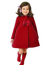 abordables -Enfants Fille Rétro Vintage Chic de Rue Noël Quotidien Ecole Couleur Pleine Noël Noeud Manches Longues Normal Coton Veste & Manteau Violet