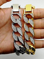 cheap -Men's Chain Bracelet Vintage Bracelet Vintage Style Stylish Leaf Fashion Hip-Hop 18K Gold Plated Bracelet Jewelry Gold / Silver For Club Bar