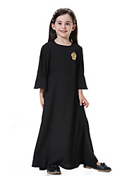 cheap -Kids Girls' Boho Daily Solid Colored Sequins 3/4 Length Sleeve Maxi Dress Blushing Pink