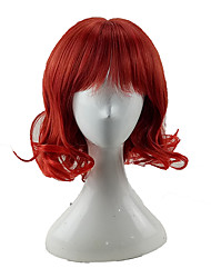 cheap -Synthetic Wig Wavy Bob Wig Medium Length Watermelon Red Synthetic Hair 14 inch Women's Normal Soft Heat Resistant Red hairjoy