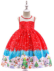 cheap -Kids Toddler Girls' Vintage Active Christmas Party Holiday Snowflake Christmas Sleeveless Knee-length Dress Red