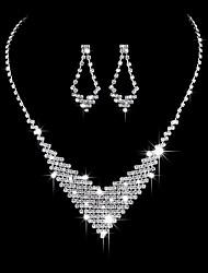 abordables -Femme Collier Classique Créatif Doux Mode Elégant Des boucles d'oreilles Bijoux Argent Pour Mariage Soirée 1 set