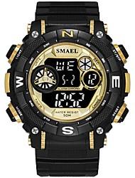 Недорогие -SMAEL Муж. Спортивные часы электронные часы Японский Цифровой Черный 30 m Защита от влаги Календарь Хронометр Цифровой Мода - Черный / Красный Черный и золотой / Фосфоресцирующий