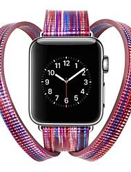 Недорогие -Настоящая кожа Ремешок для часов Ремень для Apple Watch Series 4/3/2/1 Синий / Серебристый металл / Красный 23см / 9 дюйма 2.1cm / 0.83 дюймы