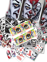 cheap -25 Sheets Nail Stickers Nail Art Water Transfer Stickers European and American Halloween Black and White Color Skull Element French Full Sticke for DIY Nail Art Decorations