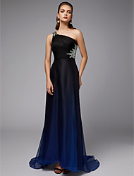 cheap -Sheath / Column One Shoulder Sweep / Brush Train Chiffon Elegant Formal Evening Dress with Beading / Side Draping 2020