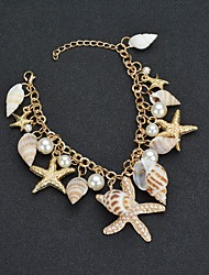 cheap -Women's Pendant Bracelet Tropical Starfish Shell Tropical Imitation Pearl Bracelet Jewelry Gold For Wedding Carnival Going out Birthday Bikini
