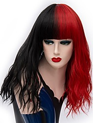 cheap -Cosplay Costume Wig Synthetic Wig Curly Middle Part Wig Long Black / Red Synthetic Hair 18 inch Women's Fashionable Design Cosplay Red Black