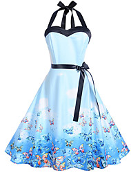 cheap -Women's Daily Going out Vintage A Line Dress - Animal Butterfly, Print Halter Neck Spring Cotton Blue L XL XXL