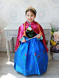 cheap -Kids Toddler Girls' Active Sweet Party Holiday Patchwork Halloween Long Sleeve Midi Dress Blue