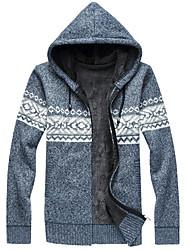 cheap -Men's Weekend Active Color Block Long Sleeve Regular Cardigan Sweater Jumper, Hooded Black / Blue / Red M / L / XL