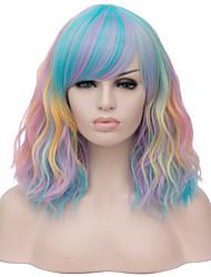 Недорогие -Кудрявый Средняя часть Парик Короткие Радужный Искусственные волосы 16 дюймовый Жен. Кейс Модный дизайн Красный Синий