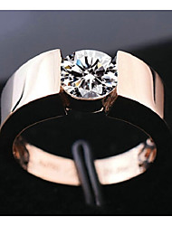 cheap -Couple's Engagement Ring Cubic Zirconia 1pc Silver Rose Gold Copper Rhinestone Round Simple Classic Romantic Engagement Gift Jewelry Stylish Solitaire Matching Creative
