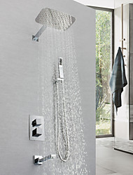 cheap -Shower Faucet - Contemporary Chrome Wall Mounted Brass Valve Bath Shower Mixer Taps / Single Handle Four Holes