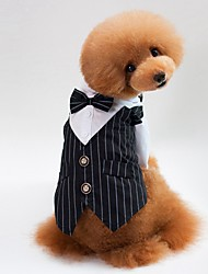 cheap -Dog Cat Dress Tuxedo Striped Party / Evening Wedding Dog Clothes Black Blue Costume Cotton S M L XL XXL