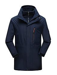 cheap -Men's Hoodie Jacket Hiking Jacket Winter Outdoor Thermal / Warm Windproof Breathable Rain Waterproof 3-in-1 Jacket Top Single Slider Camping / Hiking Ski / Snowboard Fishing Black / Army Green
