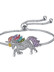 cheap -Women's Charm Bracelet Classic Pave Horse Unicorn Ladies Luxury Cartoon Rhinestone Bracelet Jewelry Silver For Halloween Gift