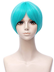 cheap -Cosplay Costume Wig Synthetic Wig Straight Asymmetrical Wig Short Green Synthetic Hair 12 inch Men's Anime Cosplay Green
