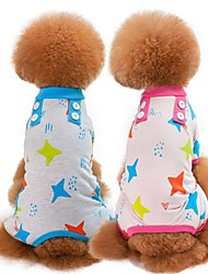 cheap -Dogs Cats Pajamas Dog Clothes Green Blue Pink Costume Pug Bichon Frise Schnauzer Cotton Cartoon Stars Sweet Style Casual / Daily S M L XL XXL