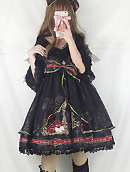 cheap -Vintage Gothic Lolita Classic Lolita Dress Girls' Female Chiffon Lace Japanese Cosplay Costumes Black / Yellow / Ink Blue Print Stitching Lace Lace Puff Sleeve Half Sleeve Midi / Gothic Lolita Dress