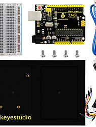 cheap -Keyestudio UNO Board + 400 Tie-Points Breadboard + Chassis + Breadboard Wire Pack of 65 + USB Cable