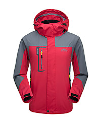 cheap -Men's Hoodie Jacket Hiking Jacket Winter Outdoor Solid Color Windproof Breathable Rain Waterproof Wear Resistance Jacket Top Single Slider Camping / Hiking Climbing Outdoor Exercise Black Red Blue