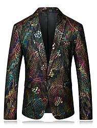 cheap -Men's Work Regular Blazer, Rainbow Notch Lapel Long Sleeve Polyester Rainbow / Business Casual