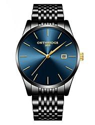 Недорогие -ontheedge Муж. Нарядные часы Наручные часы Японский Японский кварц Нержавеющая сталь Черный 30 m Защита от влаги Календарь Повседневные часы Аналоговый Классика На каждый день Мода Простые часы -