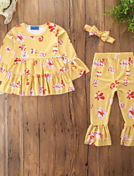 cheap -Baby Girls' Active / Basic Daily / Holiday Print Print Long Sleeve Regular Clothing Set Yellow / Toddler