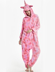 cheap -Adults' Kigurumi Pajamas Unicorn Pony Onesie Pajamas Flannel Fabric Pink Cosplay For Men and Women Animal Sleepwear Cartoon Festival / Holiday Costumes