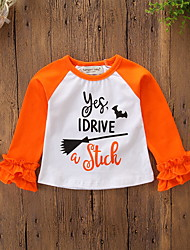 cheap -Baby Girls' Active / Basic Daily / Holiday Print / Halloween Layered Long Sleeve Regular Tee Orange / Toddler