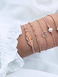 cheap -Women's Pearl Chain Bracelet Pendant Bracelet Layered Leaf Heart Lotus Ladies Simple Punk Romantic Korean Alloy Bracelet Jewelry Pink For Gift Daily Evening Party Going out