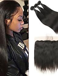 cheap -3 Bundles with Closure Malaysian Hair Straight Remy Human Hair Human Hair Extensions Hair Weft with Closure 8-26 inch Human Hair Weaves Soft Best Quality New Arrival Human Hair Extensions / 10A