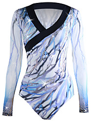 cheap -Figure Skating Top Men's Boys' Ice Skating Top White Halo Dyeing Spandex Stretchy Professional Competition Skating Wear Handmade Sequin Long Sleeve Figure Skating