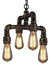 cheap -4-Light Vintage Loft Industrial Pipe Pendant Lights Creative Lights Restaurant Cafe Bar Chandelier 4 Light Painted Finish
