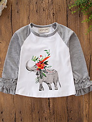 cheap -Baby Girls' Active / Basic Daily / Holiday Print Long Sleeve Regular Tee Gray / Toddler