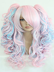 cheap -Synthetic Wig Cosplay Wig Harley Quinn Wavy Wavy Layered Haircut With Bangs With Ponytail Wig Pink Long Black Pink Purple Blonde Red Synthetic Hair Women's Highlighted / Balayage Hair Pink hairjoy