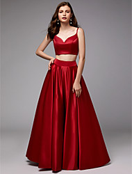 cheap -Ball Gown Spaghetti Strap Floor Length Satin Two Piece / Elegant Prom / Formal Evening Dress with Pleats 2020