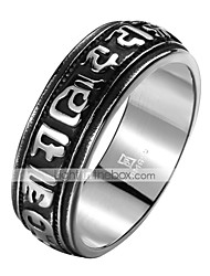 cheap -Men's Band Ring 1pc Black Tungsten Steel Steel Stainless Circle Geometric Vintage Punk Initial Daily Street Jewelry Vintage Style 3D Engraved Creative Cool