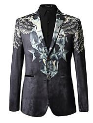 cheap -Men's Daily Regular Blazer, Solid Colored / Geometric Shawl Lapel Long Sleeve Polyester Black