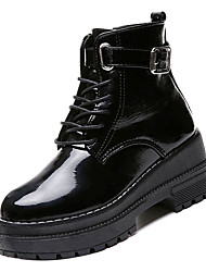 cheap -Women's Boots Combat Boots Creepers Round Toe PU Booties / Ankle Boots Casual Fall Black