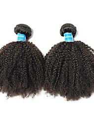 cheap -2 Bundles Brazilian Hair Afro Virgin Human Hair Remy Human Hair Natural Color Hair Weaves / Hair Bulk 8-26 inch Natural Human Hair Weaves Best Quality 100% Virgin Human Hair Extensions / 10A