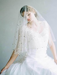 cheap -One-tier Vintage Style / Classic Style Wedding Veil Fingertip Veils with Solid / Paillette Tulle