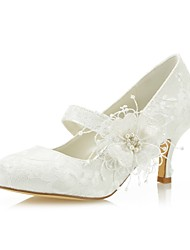 cheap -Women's Heels Pumps Stiletto Heel Round Toe Satin Flower Lace / Satin Sweet Fall & Winter Ivory / Wedding / Party & Evening / 2-3 / Party & Evening